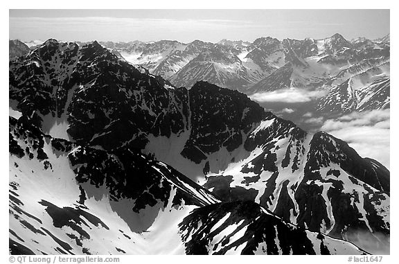 Aerial view of ridges, Chigmit Mountains. Lake Clark National Park (black and white)