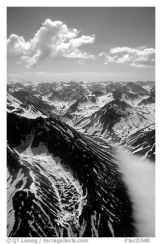Aerial view of rocky peaks with snow, Chigmit Mountains. Lake Clark National Park (black and white)