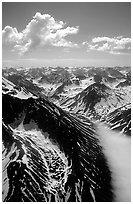 Aerial view of rocky peaks with snow, Chigmit Mountains. Lake Clark National Park ( black and white)