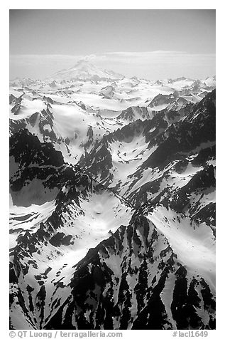 Aerial view of rugged peaks, Chigmit Mountains. Lake Clark National Park (black and white)