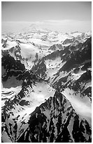 Aerial view of rugged peaks, Chigmit Mountains. Lake Clark National Park ( black and white)