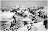 Aerial view of snowy peaks, Chigmit Mountains. Lake Clark National Park, Alaska, USA. (black and white)