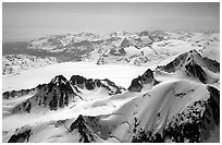 Aerial view of icefields and peaks, Chigmit Mountains. Lake Clark National Park ( black and white)
