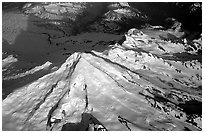 Aerial view of Redoubt Volcano. Lake Clark National Park, Alaska, USA. (black and white)