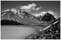 Turquoise Lake and Telaquana Mountain. Lake Clark National Park, Alaska, USA. (black and white)