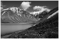 Turquoise waters of Turquoise Lake and Telaquana Mountain. Lake Clark National Park ( black and white)
