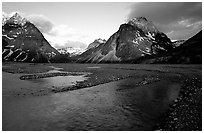 River bar below the Telaquana Mountains, sunset. Lake Clark National Park, Alaska, USA. (black and white)