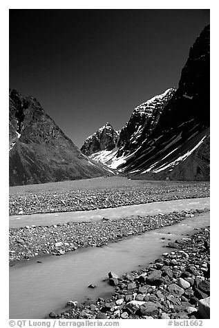 Valley I below the Telaquana Mountains. Lake Clark National Park (black and white)