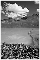 East end of Turquoise Lake. Lake Clark National Park ( black and white)