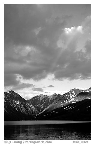 Rainbow and Telaquana Mountains above Turquoise Lake, sunset. Lake Clark National Park (black and white)