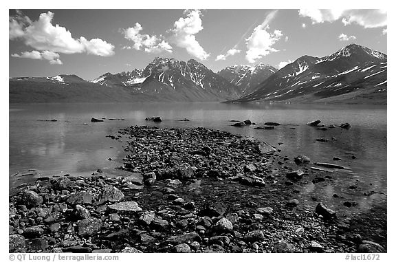 Telaquana Mountains above Turquoise Lake, from the middle of the lake. Lake Clark National Park (black and white)