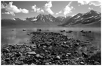 Telaquana Mountains above Turquoise Lake, from the middle of the lake. Lake Clark National Park, Alaska, USA. (black and white)
