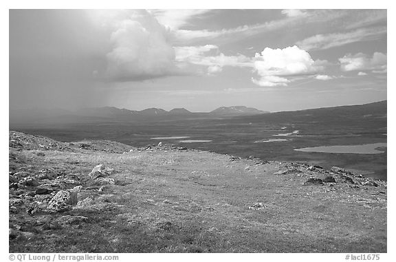Tundra and valley with storm developping. Lake Clark National Park (black and white)