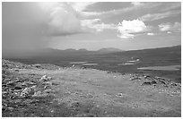 Tundra and valley with storm developping. Lake Clark National Park ( black and white)