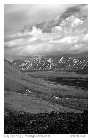 Tundra slopes and Twin Lakes. Lake Clark National Park (black and white)