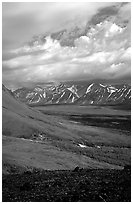 Tundra slopes and Twin Lakes. Lake Clark National Park ( black and white)