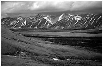 Verdant tundra, lake, and snowy mountains under clouds. Lake Clark National Park, Alaska, USA. (black and white)