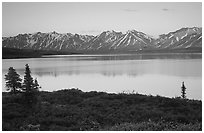 Twin Lakes, sunset. Lake Clark National Park, Alaska, USA. (black and white)