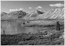 Twin Lakes mouth, morning. Lake Clark National Park ( black and white)