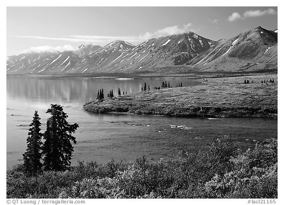 Twin Lakes and river, morning. Lake Clark National Park (black and white)