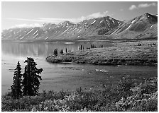 Twin Lakes and river, morning. Lake Clark National Park ( black and white)