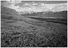 Tundra with Twin Lakes and mountains in the distance. Lake Clark National Park ( black and white)