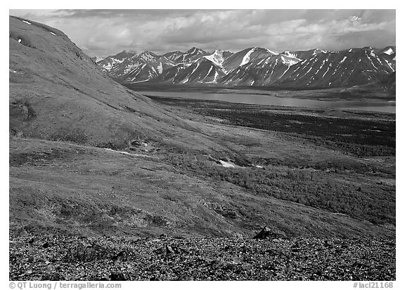 Tundra-covered hills and Twin Lakes. Lake Clark National Park (black and white)