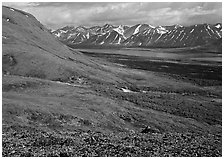 Tundra-covered hills and Twin Lakes. Lake Clark National Park ( black and white)
