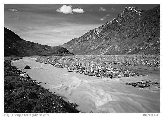 Valley II below the Telaquana Mountains. Lake Clark National Park (black and white)