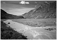 Valley II below the Telaquana Mountains. Lake Clark National Park ( black and white)