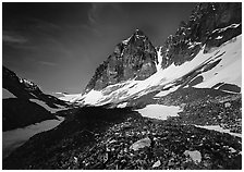 Moraine, neves, and rocky peaks, Telaquana Mountains. Lake Clark National Park ( black and white)