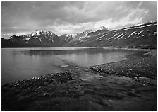 Telaquana Mountains above Turquoise Lake, sunset. Lake Clark National Park ( black and white)