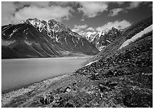 Tundra and mountains raising above Turquoise Lake. Lake Clark National Park, Alaska, USA. (black and white)