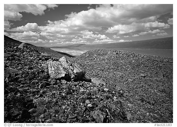 Boulder field and Turquoise Lake. Lake Clark National Park (black and white)