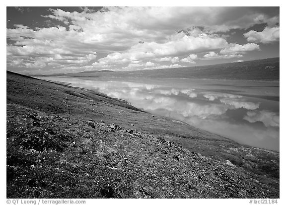 Clouds and reflections from above Turquoise Lake. Lake Clark National Park (black and white)