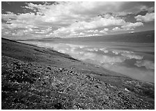 Clouds and reflections from above Turquoise Lake. Lake Clark National Park, Alaska, USA. (black and white)