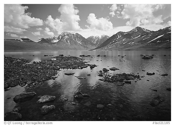 Telaquana Mountains and Turquoise Lake. Lake Clark National Park (black and white)