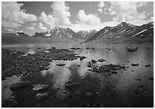 Telaquana Mountains and Turquoise Lake. Lake Clark National Park ( black and white)