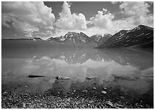 Clouds and Telaquana Mountains above Turquoise Lake, from the middle of the lake. Lake Clark National Park, Alaska, USA. (black and white)