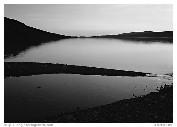 Turquoise Lake, midnight sunset. Lake Clark National Park (black and white)
