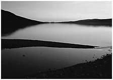 Turquoise Lake, midnight sunset. Lake Clark National Park ( black and white)