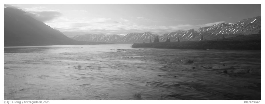 Misty lake. Lake Clark National Park (black and white)