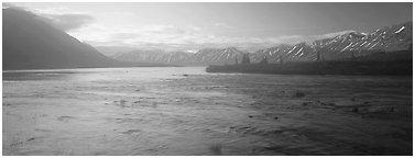 Misty lake. Lake Clark National Park (Panoramic black and white)