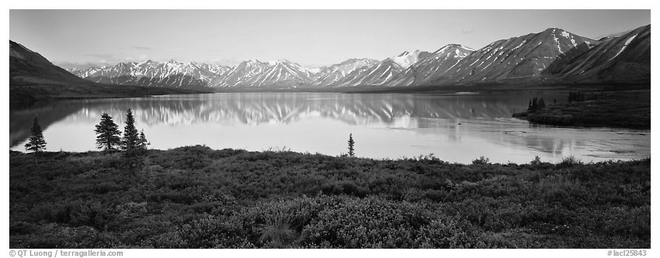 Calm evening at Twin Lakes. Lake Clark National Park (black and white)