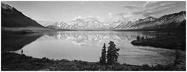 Mountains reflected in Twin Lakes. Lake Clark National Park (Panoramic black and white)