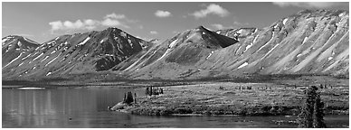 Mountains rising above Twin Lakes. Lake Clark National Park (Panoramic black and white)