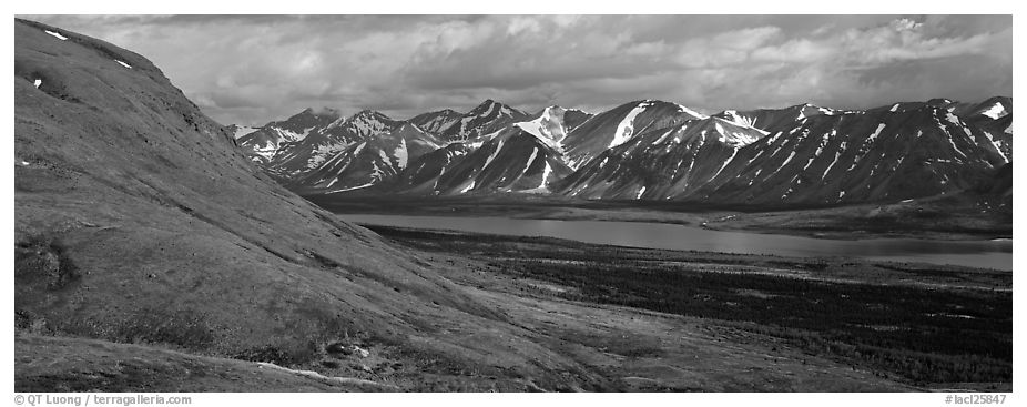 Summer mountain landscape with cloudy skies. Lake Clark National Park (black and white)