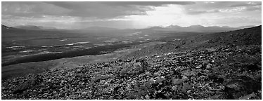 Summer tundra scenery with distant storm. Lake Clark National Park (Panoramic black and white)