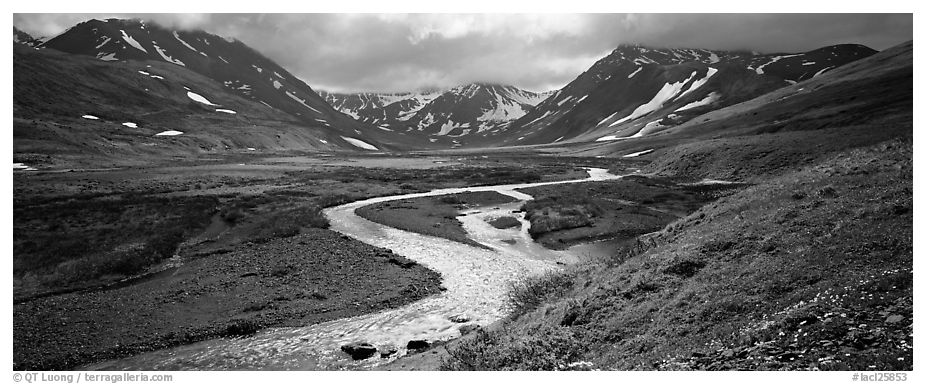 Mountain scenery with stream and tundra in summer. Lake Clark National Park (black and white)