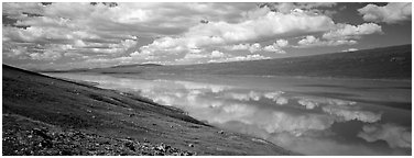 Turquoise Lake reflecting clouds. Lake Clark National Park (Panoramic black and white)